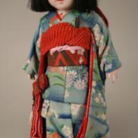 Japanese Ichimatsu Doll in Blue Kimono